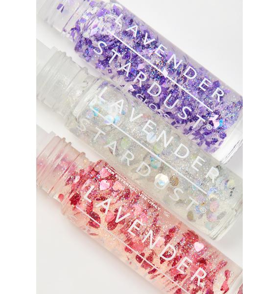 Lavender Stardust Kissing Glitter Lip Gloss Trio