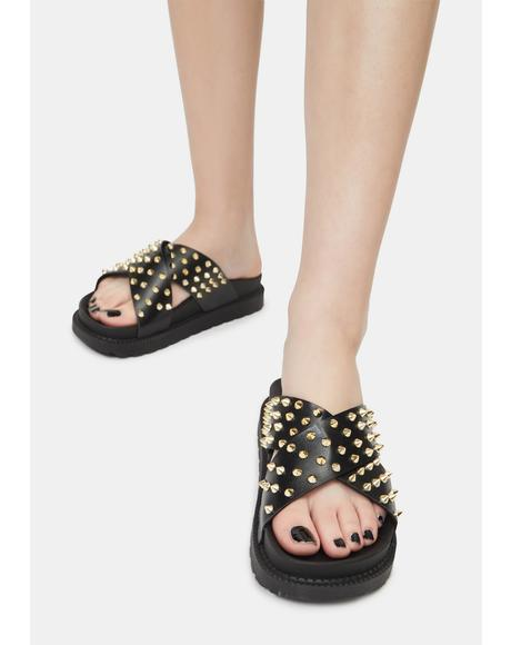 Noir Have A Good Time Spike Slide Sandals