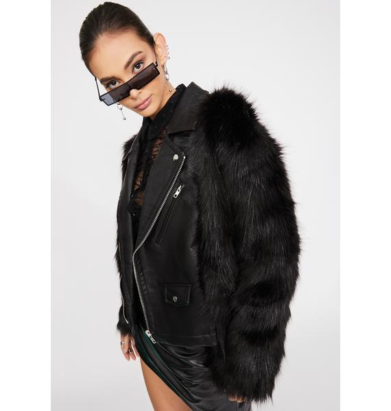 STEELE Hendrix Faux Fur Moto Jacket