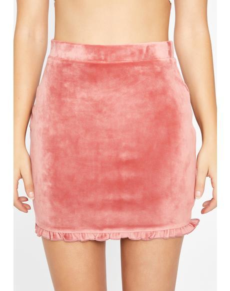 Sweet Frilly Femme Velvet Skirt