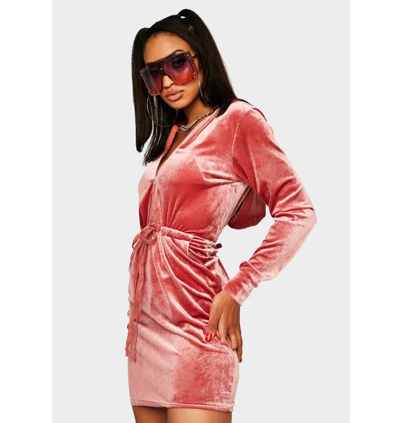 Coral All Mine Velvet Dress