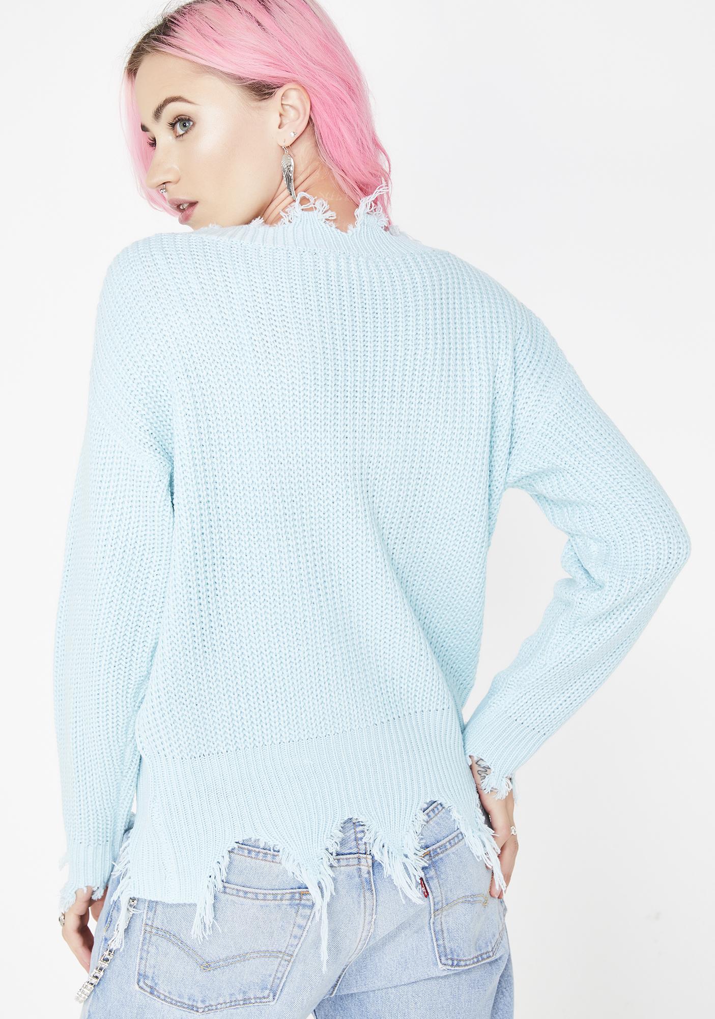 Sky Pickin' Posies Distressed Sweater