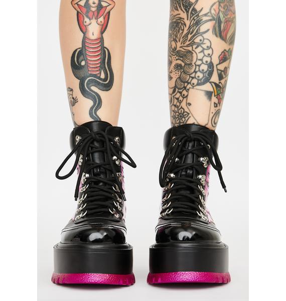 Koi Footwear Purple Helios Flame Combat Boots