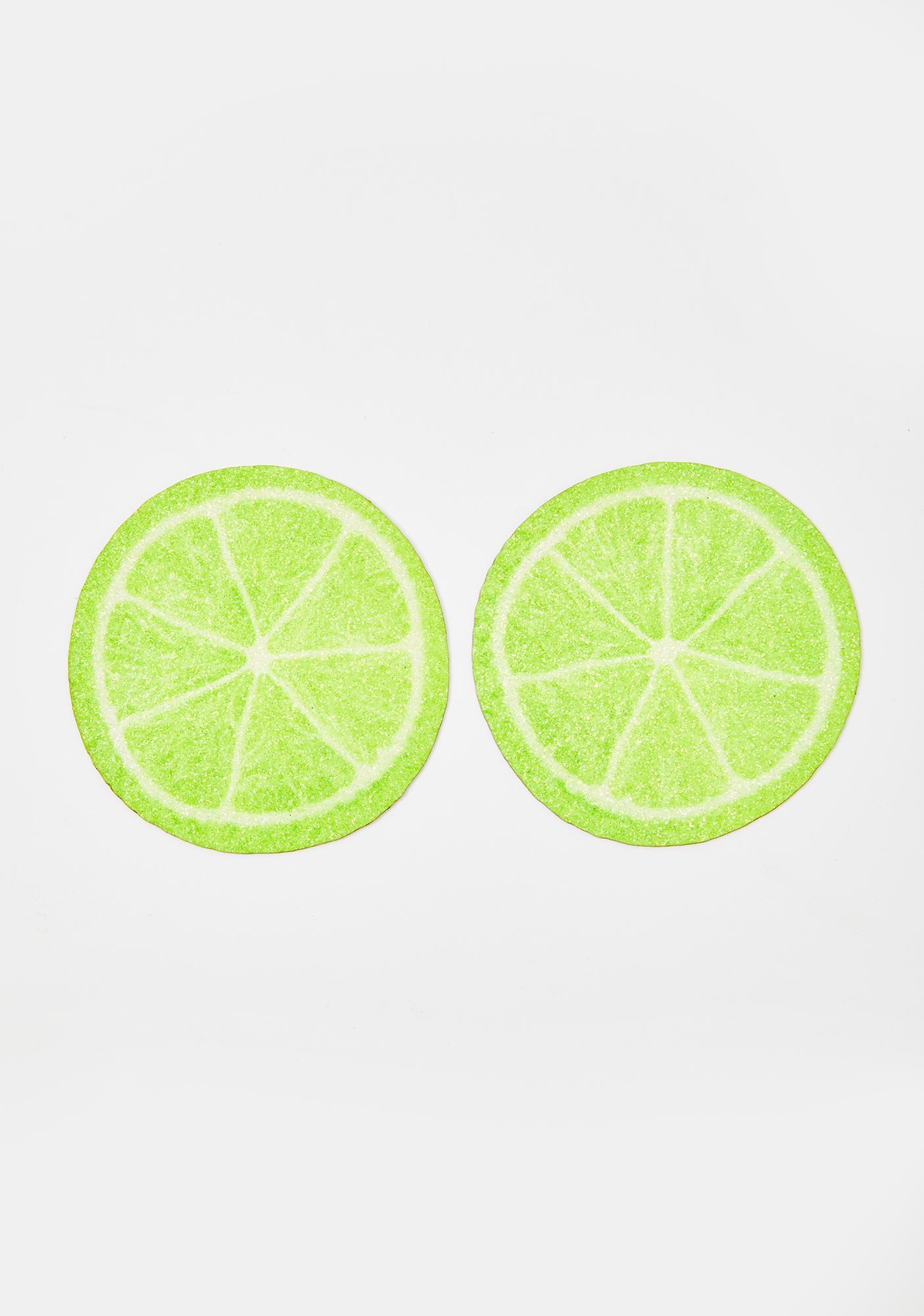 Neva Nude Lime Slice Glitter Pasties