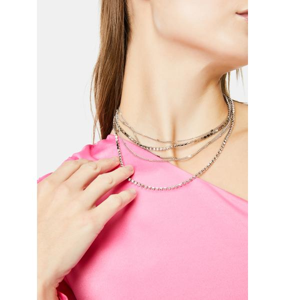 Rhinestone Rocker Chain Necklace