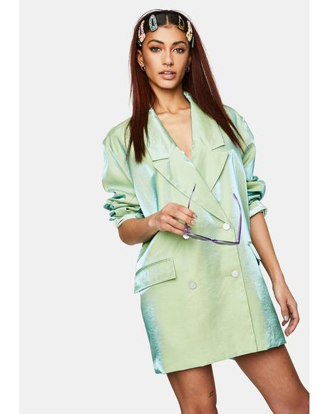 Iridescent Green Relaxed Tailored Blazer