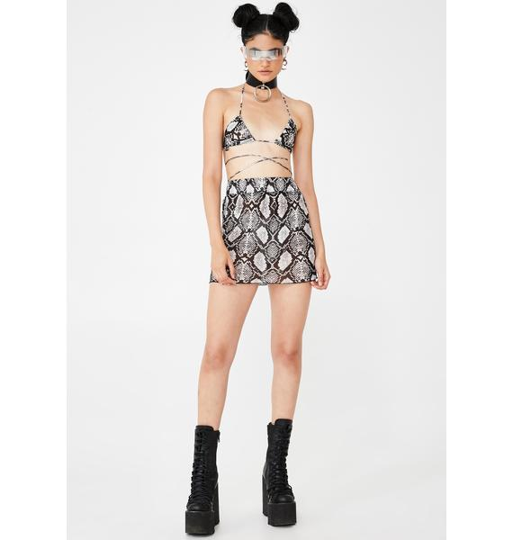 W.I.A Python Printed Sheer Skirt Set