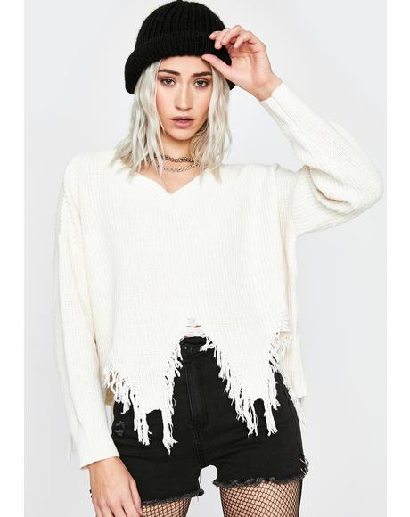 Ivory All For Nothing Distressed Sweater