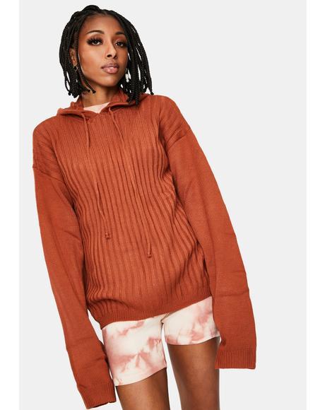 Rust Hendrix Knit Hoodie