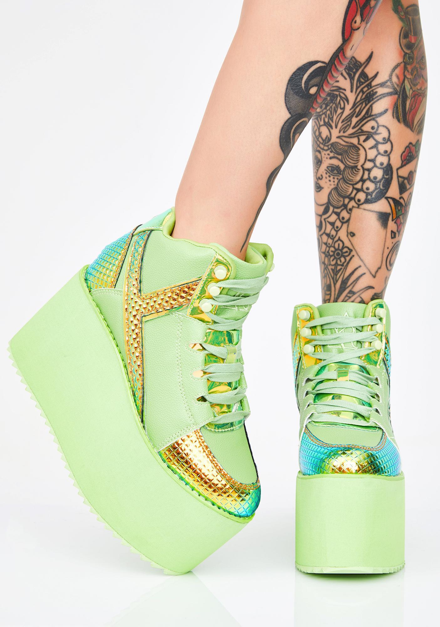 Y.R.U. Green Monster Qozmo Platform Sneakers