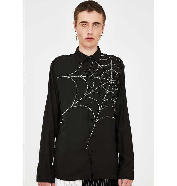 Jaded London Diamante Spider Web Button Up Shirt