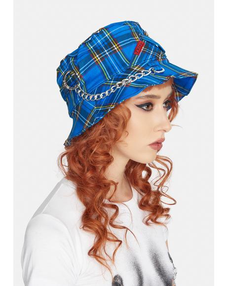Blue Plaid Bondage Bucket Hat