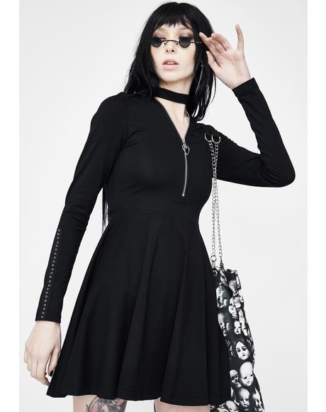 Zip Collar Knit Dress