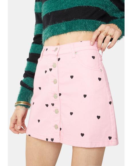 Sweetheart Denim Button Skirt