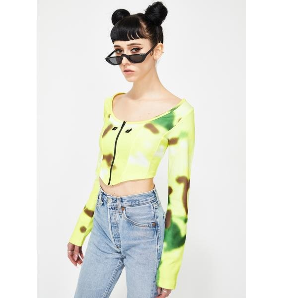 Criminal Damage Green Tie Dye Zip-Up Corset Top