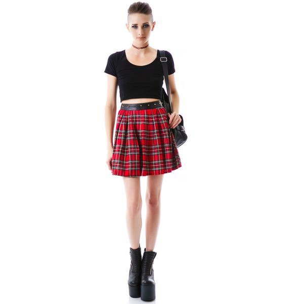 Tai Studded Plaid Skirt