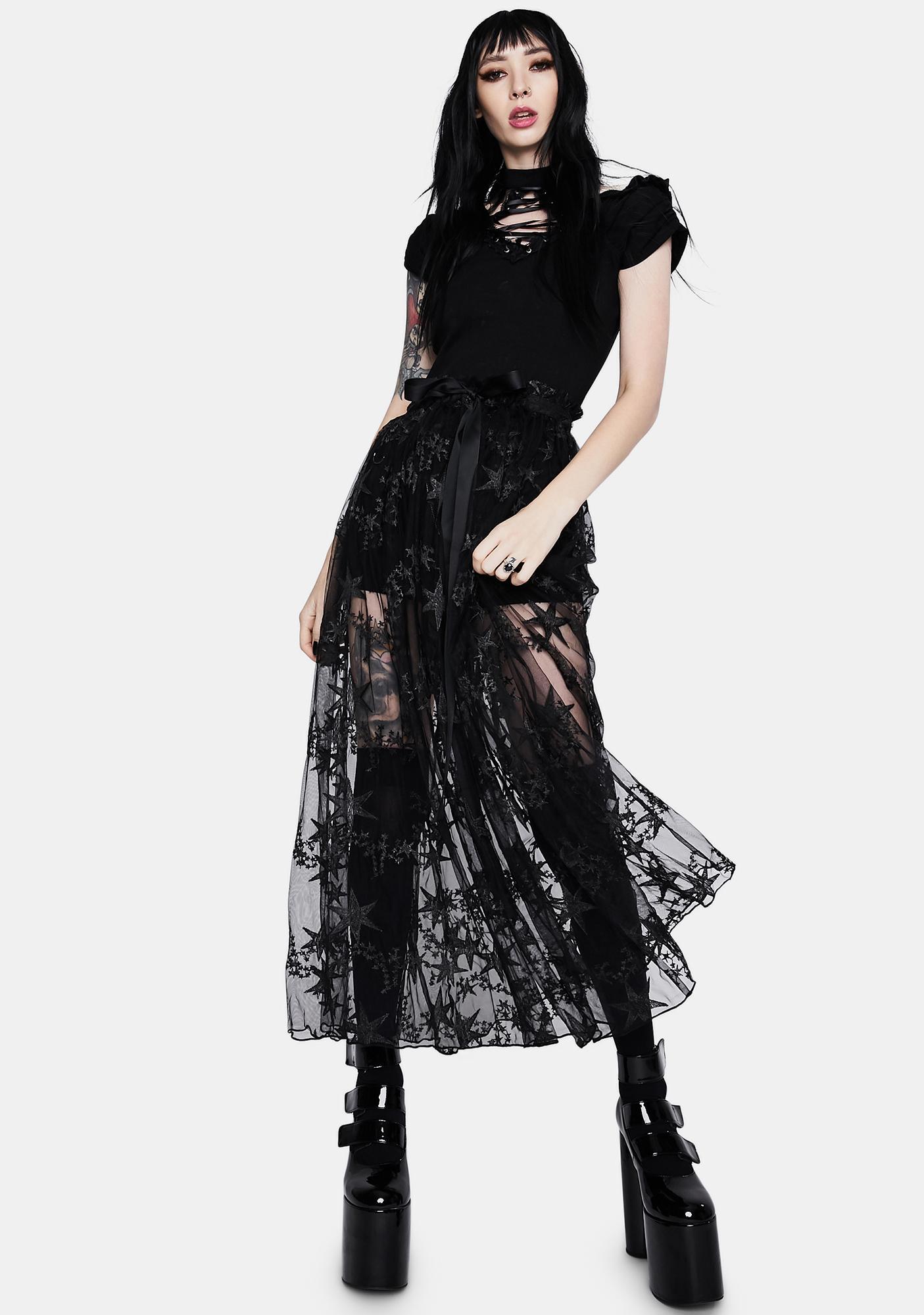 Dark In Love Black Star Lace Midi Skirt