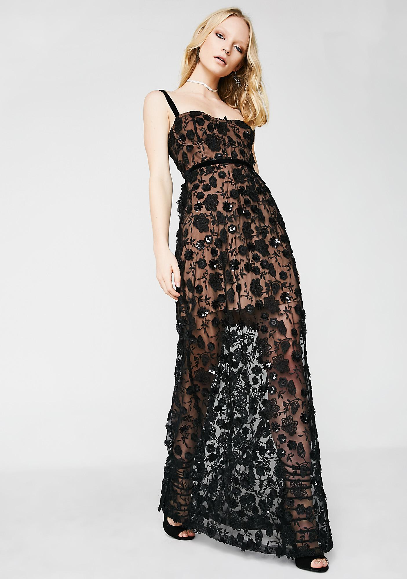 For Love & Lemons Dark Beatrice Strappy Maxi Dress