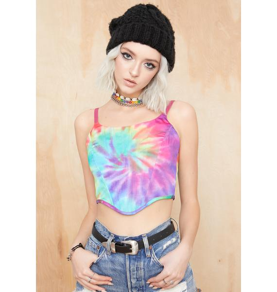 Current Mood Take A Hit Tie Dye Corset