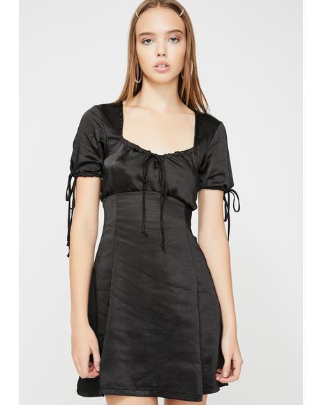 Black Guenette Satin Dress