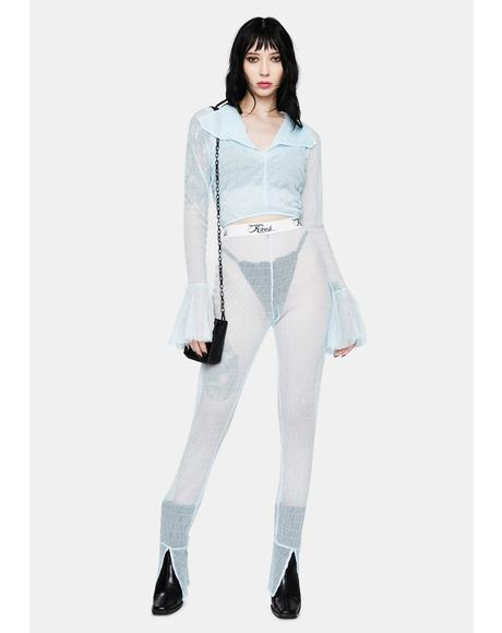 Light Blue Amerie Sheer Pant Set