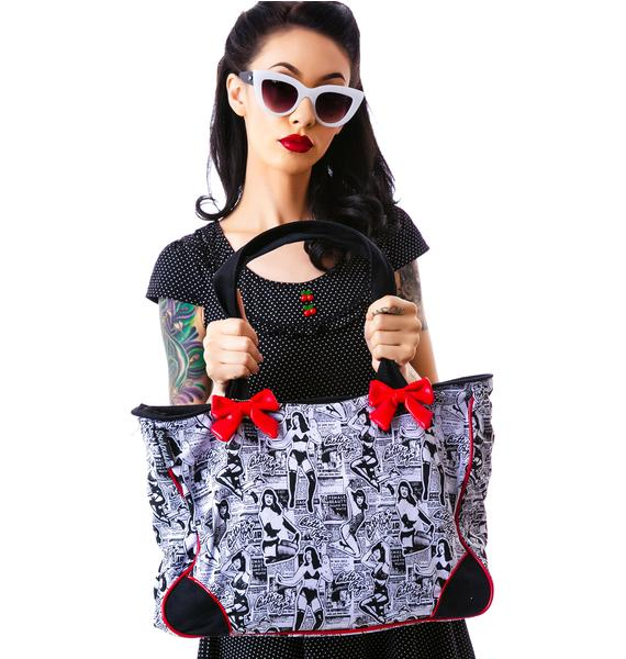 Sourpuss Clothing Bettie Page Collage Tote