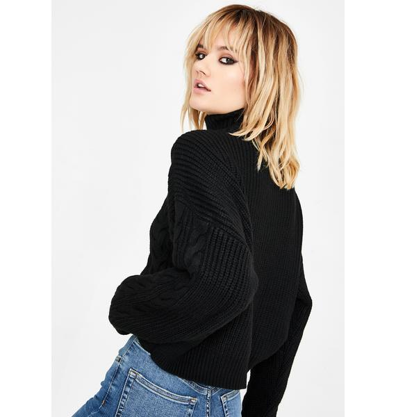 BDG Half Zip Cable Knit Sweater
