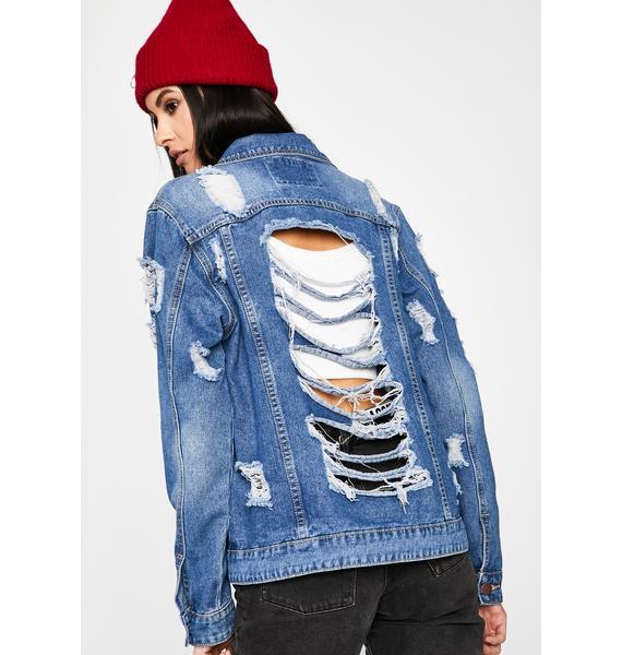 Hey Hater Distressed Denim Jacket