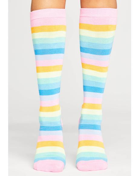 Candy Rainbow Connections Striped Socks