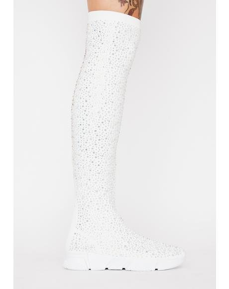 White Partition Sock Sneakers