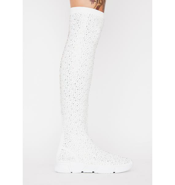 AZALEA WANG White Partition Sock Sneakers