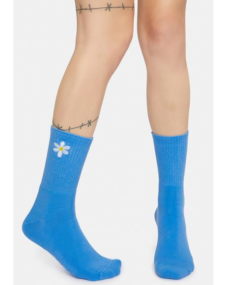 Daisy Embroidered Crew Socks