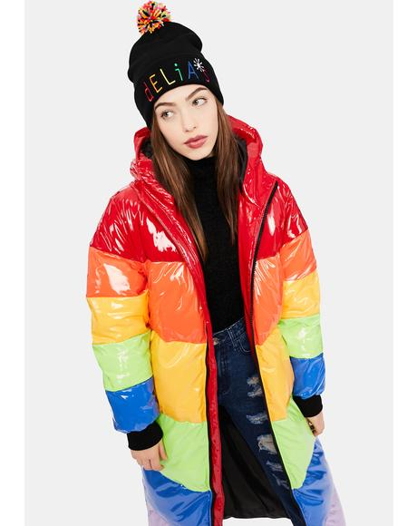 Sweet Retreat Rainbow Puffer Parka
