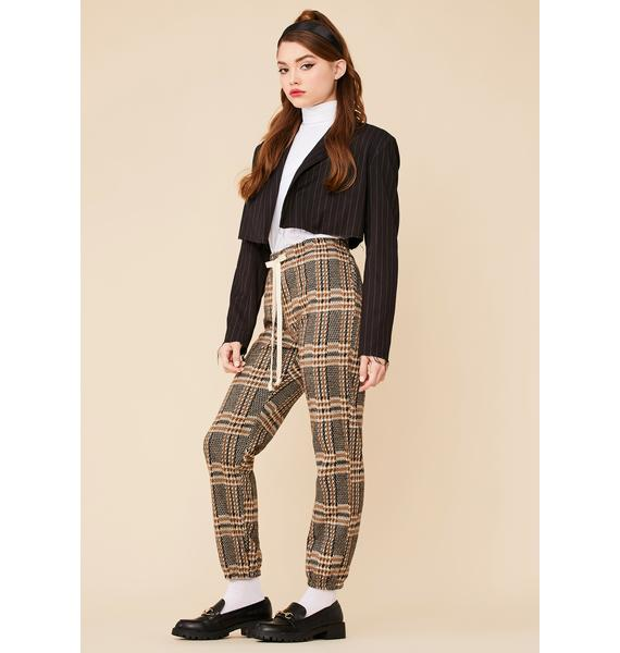 Poetry Reading Plaid Jogger Pants