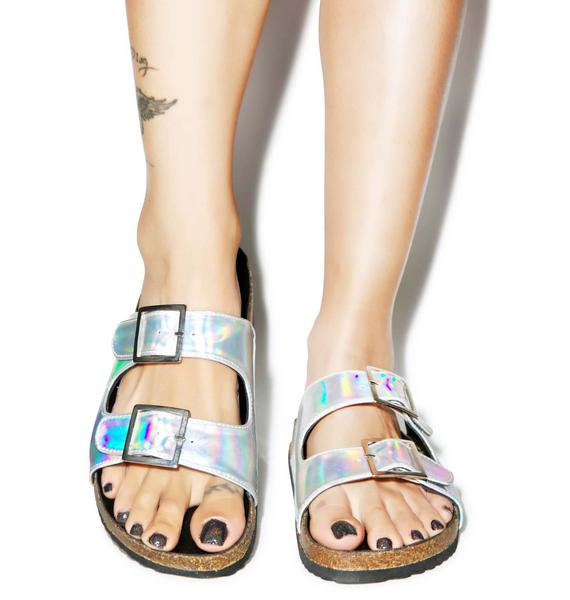 O Mighty Hella Hologram Sandals
