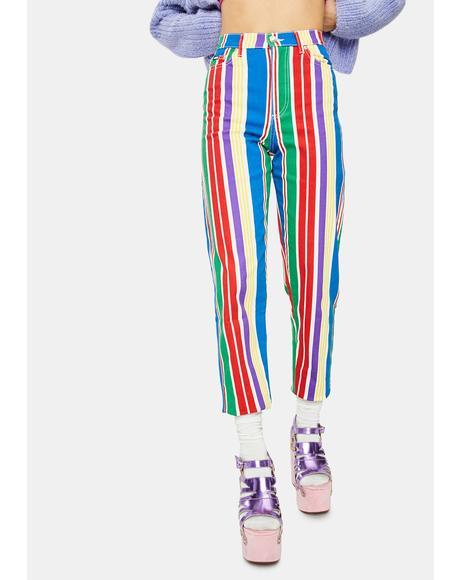 Tutti Fruti Striped Denim Mom Jeans
