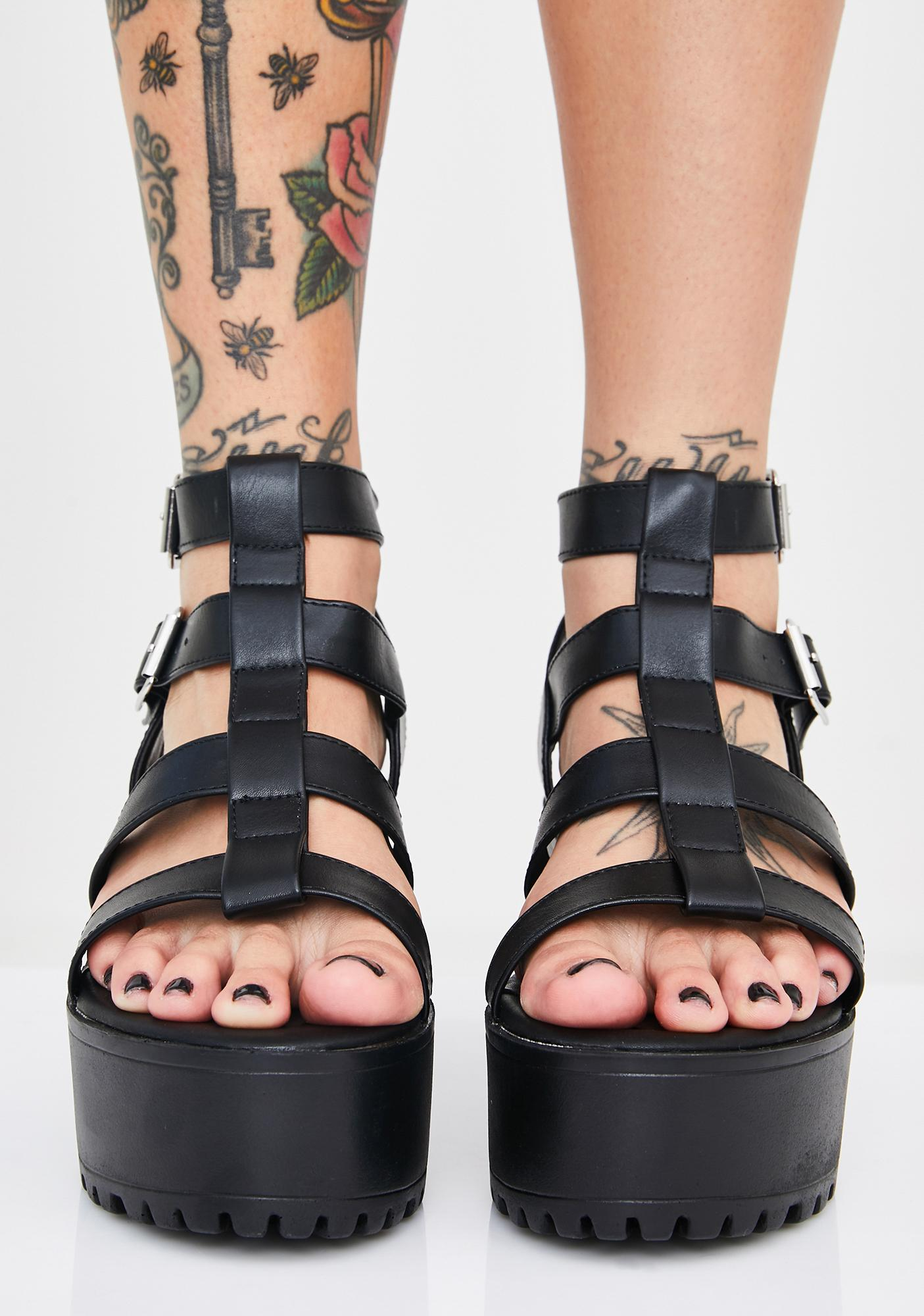 Public Desire Black Teresa Chunky Platform Sandals