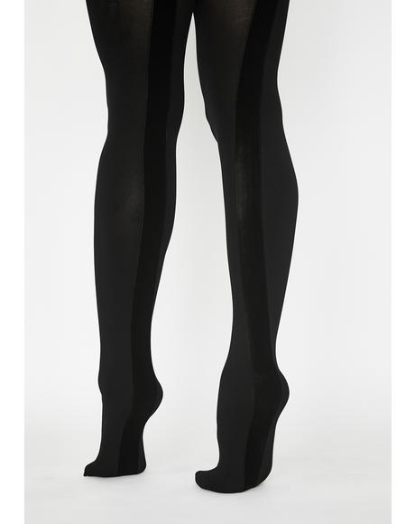Velvet Seam Opaque Tights
