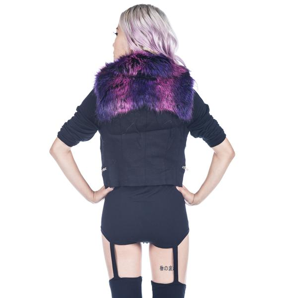 Lip Service Faux Fur Collar Twill Vest