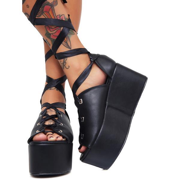 Public Desire Onyx Storm Tie Up Flatform Sandals