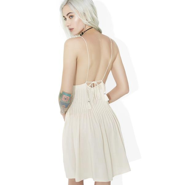 Come Around Lace-Up Slip Dress