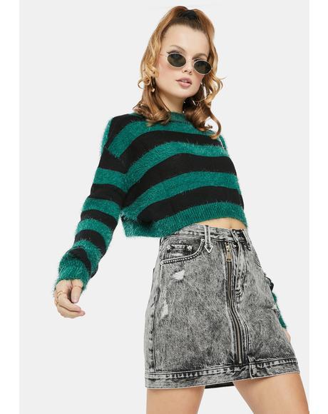 Tease Zip Denim Skirt