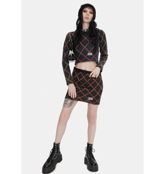 The Ragged Priest Bumps Argyle Knit Mini Skirt