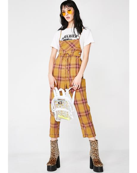 Playtime Plaid Overalls