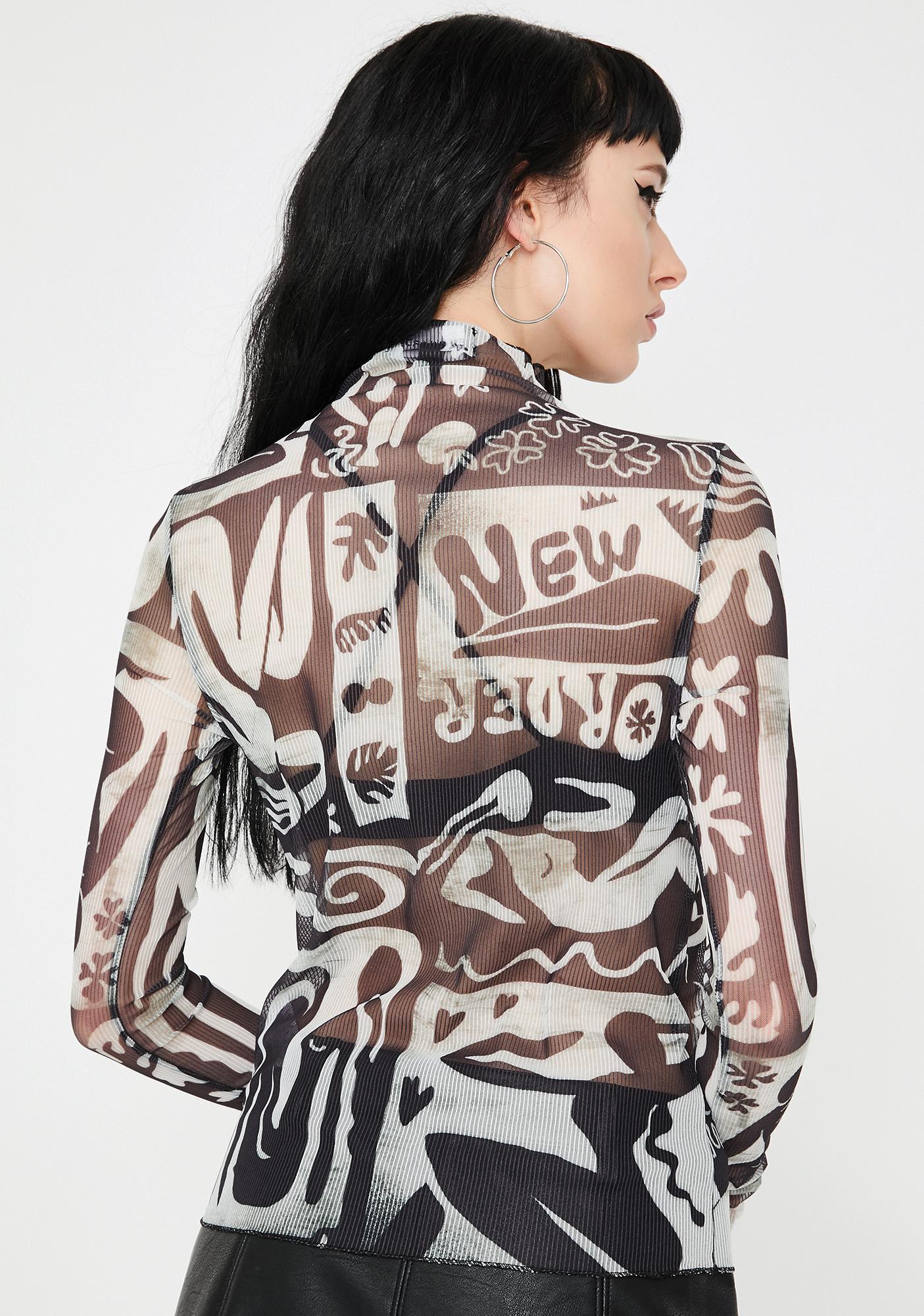 NEW GIRL ORDER Abstract Print Mesh Top
