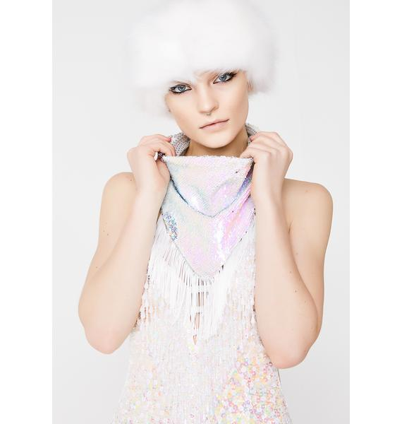 The Lyte Couture Silver And White Double Sequin Bandana