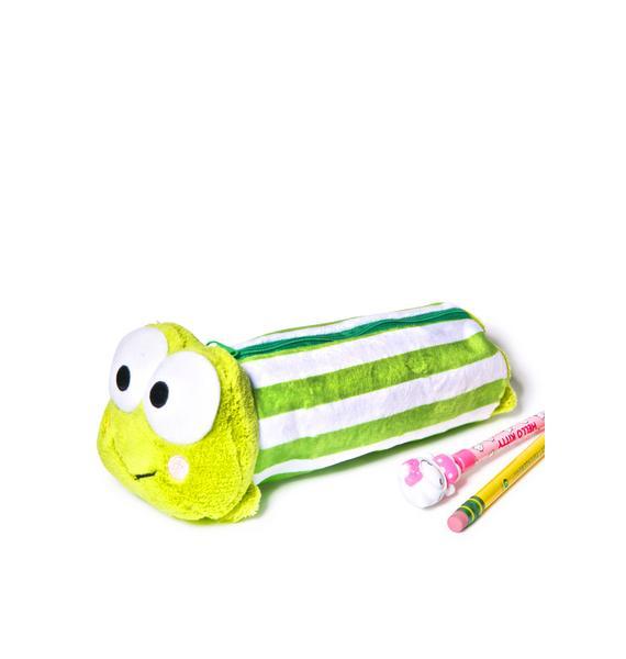 Sanrio Keroppi Green Stripe Pencil Case