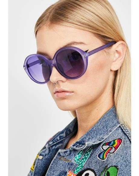 Grape Mz. Magoo Circle Sunglasses