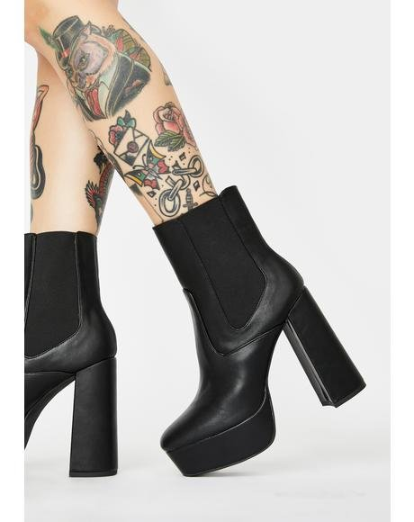 Diversion Black Platform Ankle Boots