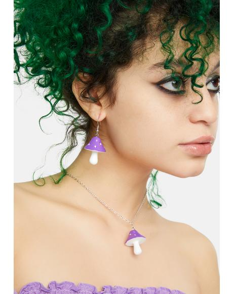 Nature Vision Mushroom Earrings And Necklace Set